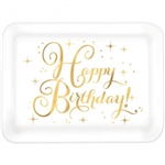 Happy Birthday Gold Stamped Large Plastic Tray
