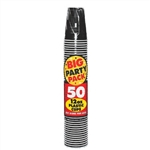 BLACK 12OZ PLASTIC CUPS PARTY PACK 50CT