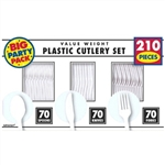 White Plastic Cutlery Set - 210 ct.