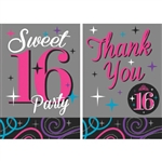 Sweet Sixteen Celebration Invitations  And Thank You Combo Pack