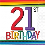 RAINBOW BDAY AGE 21 BEVERAGE NAPKINS