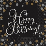 Sparkling Celebration Happy Birthday Beverage Napkins