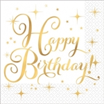Happy Birthday Gold Foil Stamped Luncheon Napkins