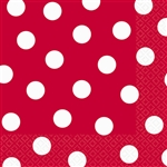 Red w/ White Polka Dots Napkins