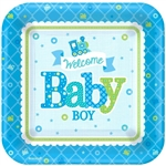 Welcome Little Boy 7in Sq Plates