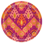 Orange Ikat Round Metallic Plates, 6 3/4""