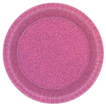 Bright Pink Round Prismatic Plates, 6 3/4""