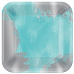 Robin's-Egg Blue Brushstroke Square Metallic Plates, 7""