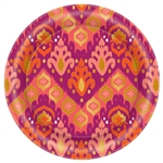 Orange Ikat Round Metallic Plates, 8 1/2""
