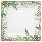 Love and Leaves 10 Inch Square Metallic Paper Plates
