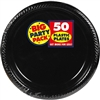 BLACK 7  PLASTIC PLATE PARTY PACK 50CT