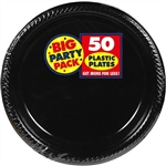 BLACK 10in. PLASTIC PLATE PARTY PACK 50CT