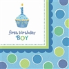 1ST BIRTHDAY CUPCAKE BOY BEVERAGE NAPKINS