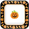 Square Pumpkin and Candy Corn Plates
