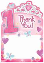 1ST BDAY PRINCESS THANK YOU CARDS