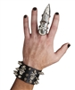Studded Skull and Crossbones Wristband w/ Finger Cuff