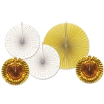 Gold Paper and Foil Decorative Fans