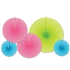 Cerise , Lime Green and Turquoise Accordion Paper Fans