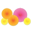 Pink , Orange, and Yellow Accordian Paper Fans