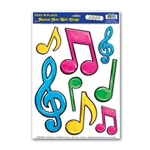 Neon Musical Notes Peel 'N Place Clings