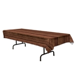 Wood Print Plastic Table Cover