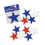 RED  WHITE  AND BLUE PRINTED STAR CUTOUTS
