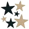 Black and Gold Glittered Stars Cutouts