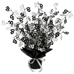 40  BLACK AND SILVER GLEAM 'N BURST CENTERPIECE