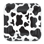 Square Cow Print 9 inch Paper Plates