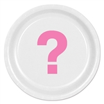 Pink Question Mark Round Plates
