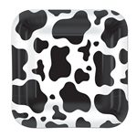 Square Cow Print 7 inch Paper Plates