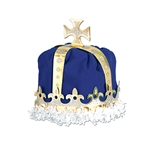 ROYAL KING'S CROWN - (BLUE) - VELVET-TEXTURED VELOUR