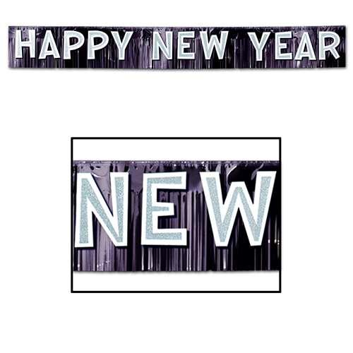 happy new year 9 fringe blackwhite banner