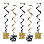 "Black and Gold ""Happy New Year"" Party Swirls"