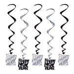 "Black and Silver ""Happy New Year"" Party Swirls"