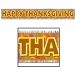 Happy Thanksgiving Metallic Banner 8 Inches By 5 Feet