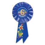 IM 6 YEARS OLD TODAY BLUE ROSETTE AWARD RIBBON