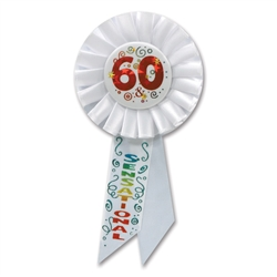 60 & SENSATIONAL ROSETTE AWARD RIBBON