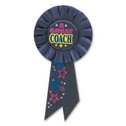 A GREAT COACH ROSETTE AWARD RIBBON