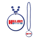 Hillary Clinton Party Beads with Medallion