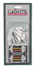 Battery 10 Count Lite Set White Wire