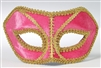 Pink Venetian Mask w/ Gold Outline