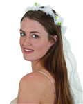 Floral Headband with Long White Veil