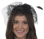 Flower Headband with Feathers and Polka Dot Veil