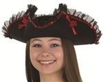 Tricorn Hat with Sequin and Ruffled Trim