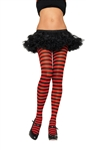 Nylon Striped Tights Plus Size - Black and Red