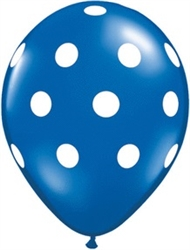 Big Polka Dots Sapphire Blue Latex Balloons (11 in)