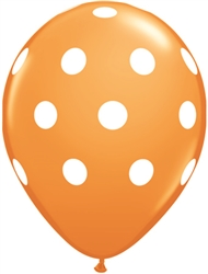 Big Polka Dots Orange Latex Balloons (11 in)
