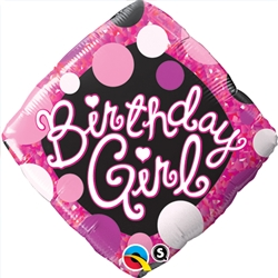 Birthday Girl Pink and Black Mylar Balloon