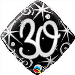 30th Birthday Elegant Sparkle Mylar Balloon